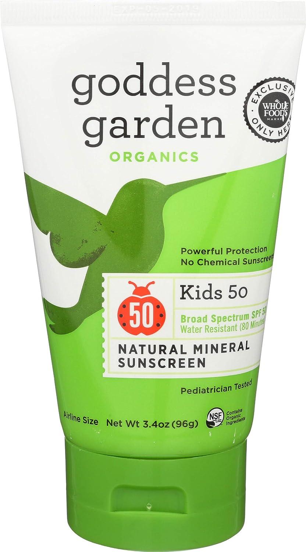 Goddess Garden, Sunscreen Natural Mineral Kids SPF 50, 3.4 Ounce