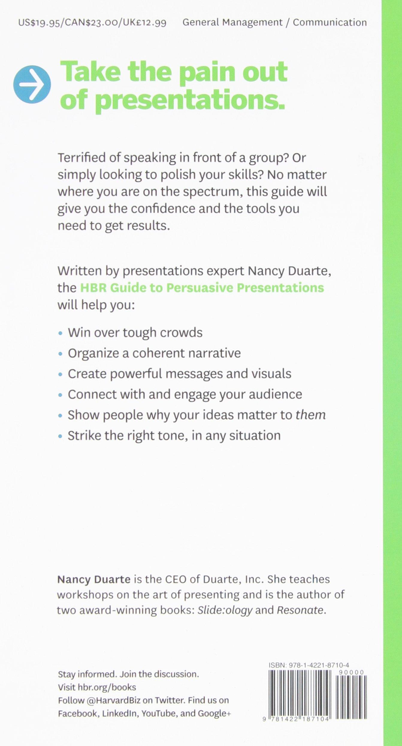 HBR Guide to Persuasive Presentations (HBR Guide Series): Amazon.co.uk: Nancy  Duarte: 9781422187104: Books