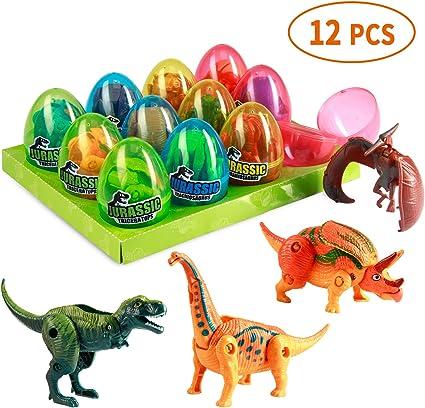 6 Pack Dinosaur Building Blocks in Jumbo Easter Eggs for Kids Jurassic Dinosaur Eggs Toys Playset for Boys Girls Easter Basket.