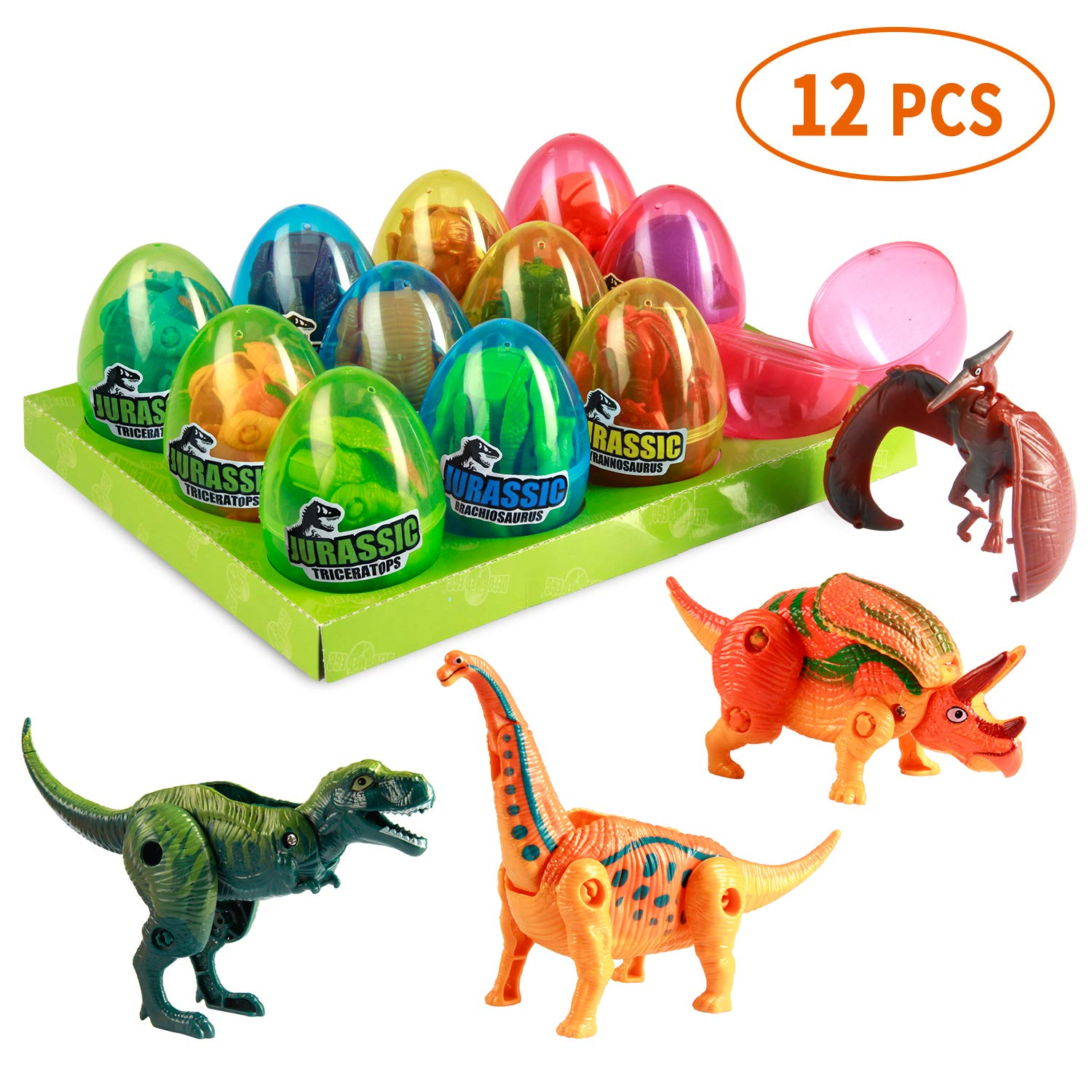 MONILON Dinosaur Toys, 12 Pcs Easter Eggs Basket Stuffers Deformable Dinosaur Desktop Decorations Eggs- Party Favors Kids Easter Gifts Toys for Kids Boys Girls Ages 3 4 5 6 7, 8 - 12 Years Old