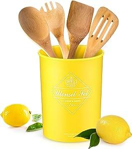 Lemon Utensil Holder for Countertop Lemon Yellow Utensil Holder Utensil Storage Container for CountertopKitchenDecor, 4.5 x 6.9 Inch