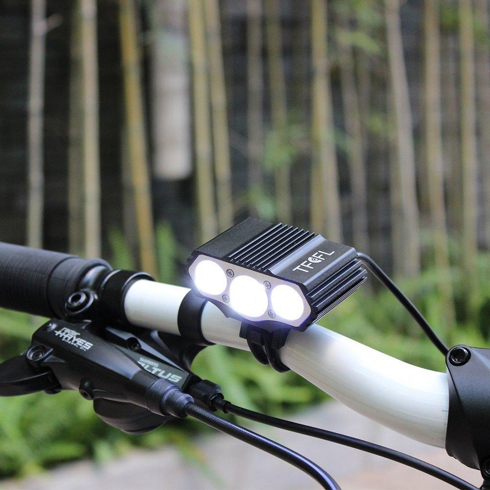 TFCFL 6000 Lumen Rechargeable Bike Light 3X Cree XML U2 LED 6400mah Battery Cycling Bicycle Light Lamp Camping Traveling Hiking Headlight Headlamp KAHE