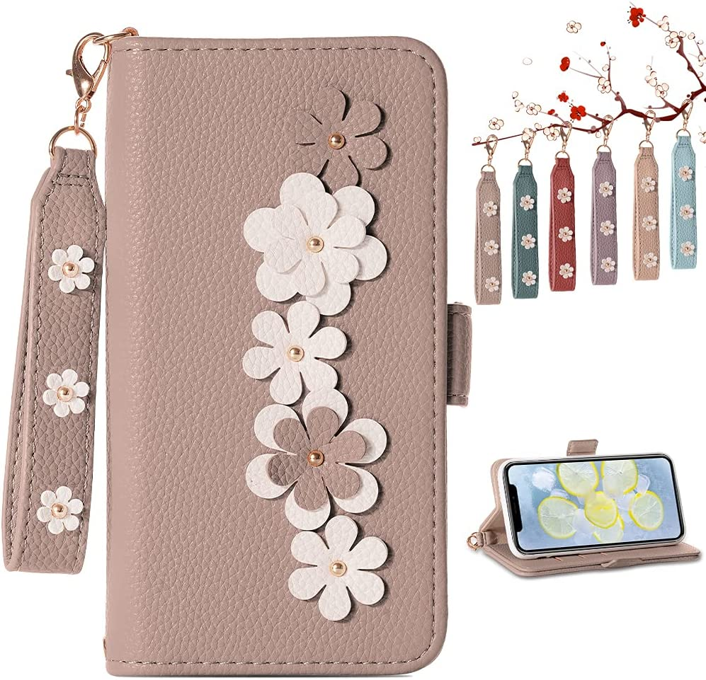 Homelax Wallet Case for iPhone X/iPhone Xs, [Wrist Strap] PU Leather Wallet Phone Shockproof Case, Card Slot Flip Cover with [Flower Design] [Kickstand Function] for iPhone X/XS 5.8 inch, Apricot(1)