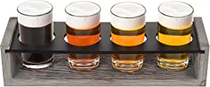 MyGift Vintage Gray-Washed Wood 4-Glass Craft Beer Tasting Flight Set Server Caddy Tray w/Erasable Chalkboard Surface