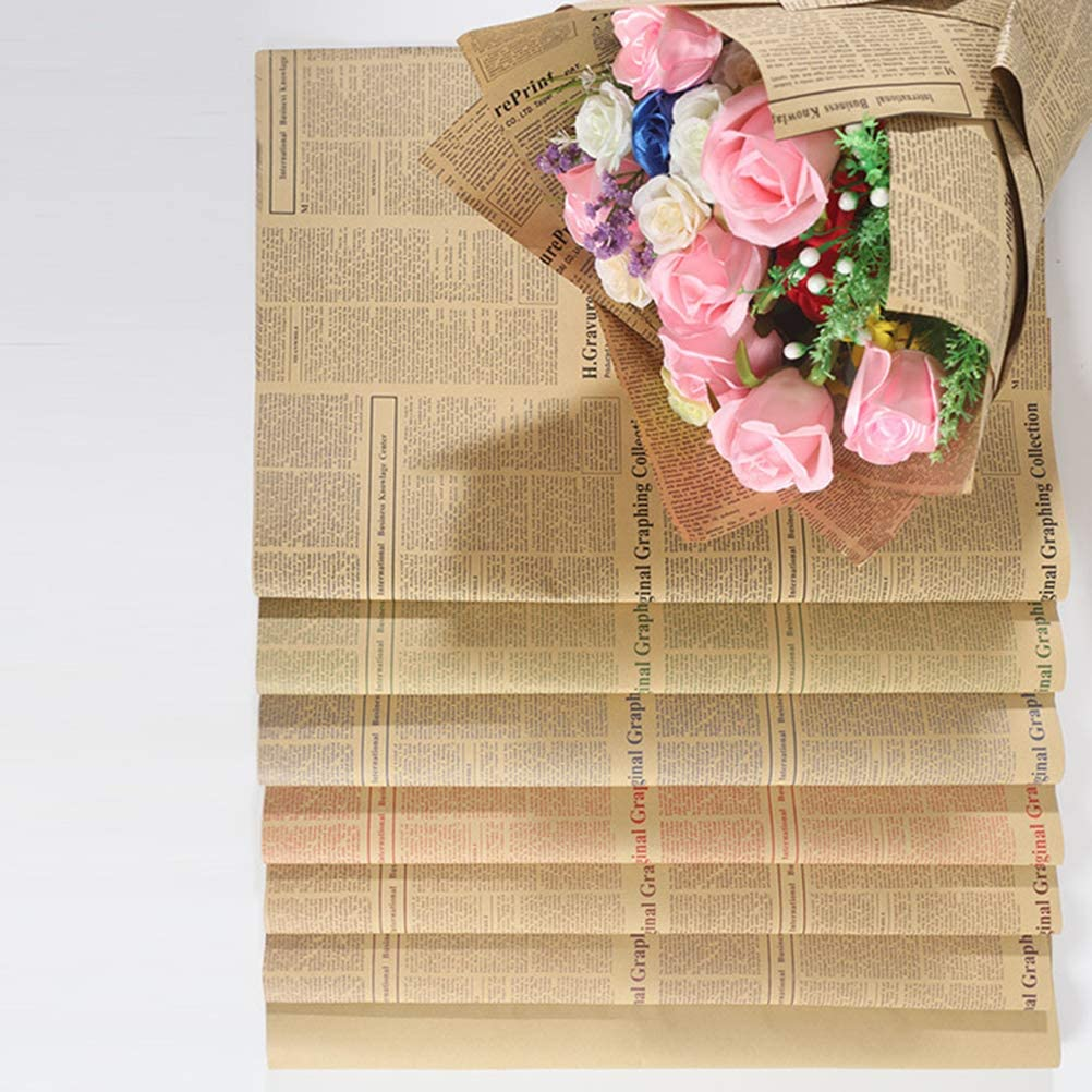 STOBOK 20pcs Floral Packaging Paper Dry Flower Bouquet Gift Wrapping Paper for Mother Woman