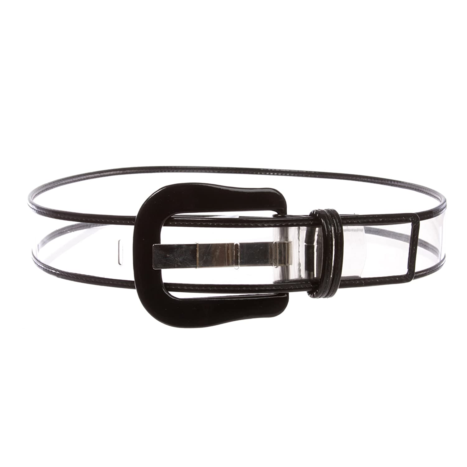 Black Women's Fancy Buckle colorTrimmed Patent Leather Wide Fashion Jelly Clear Belt, White   XS S  28