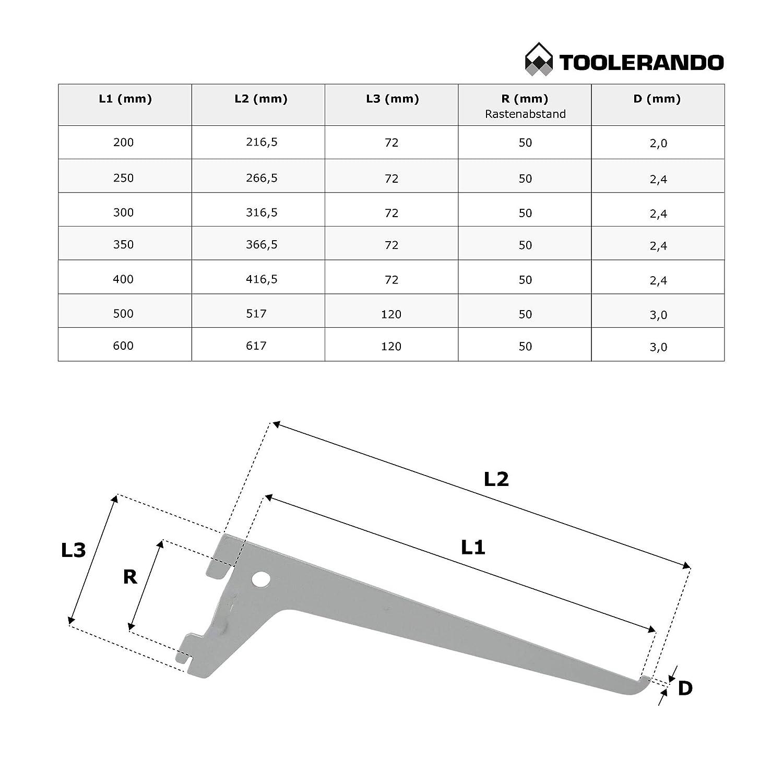 Console simple pour cr/émaill/ère d/étag/ère blanc longueur: 250 mm console 1 rang/ée pour rail mural Toolerando Support d/étag/ère murale