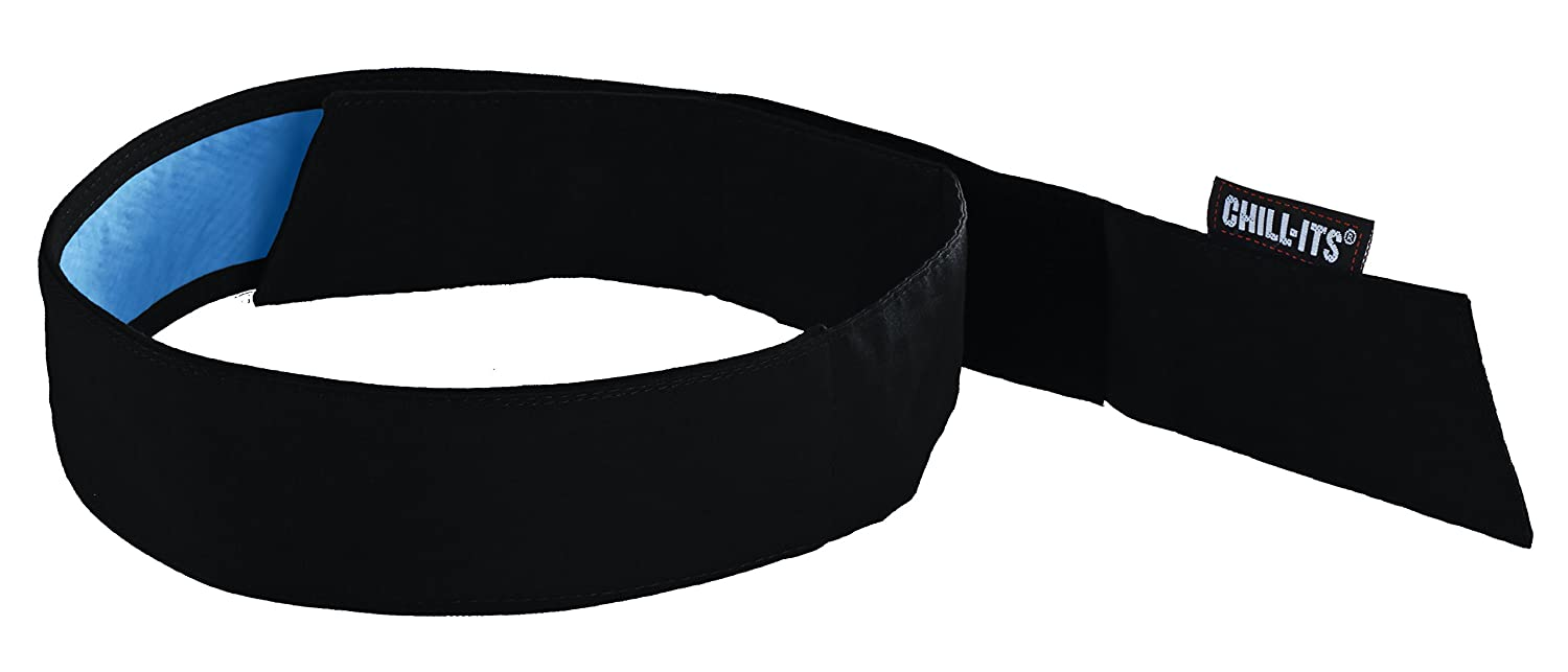 Cooling Bandana, Black, Lined with Evaporative PVA Material for Fast Cooling Relief, Quick and Secure Fit, Ergodyne 6705CT