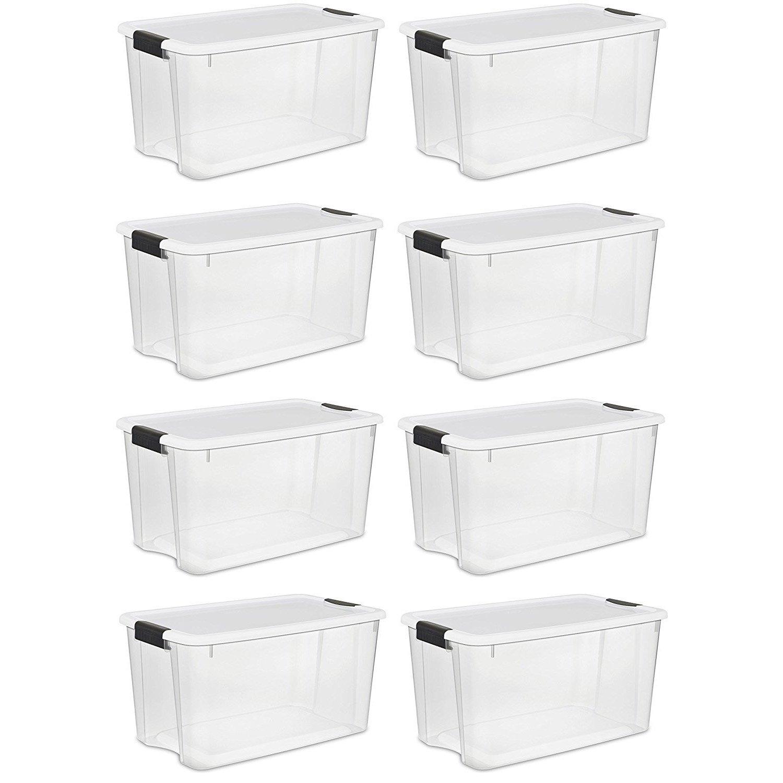 Sterilite 70 Quart Ultra Latch Storage Box with White Lid & Clear Base (8 Pack) by STERILITE