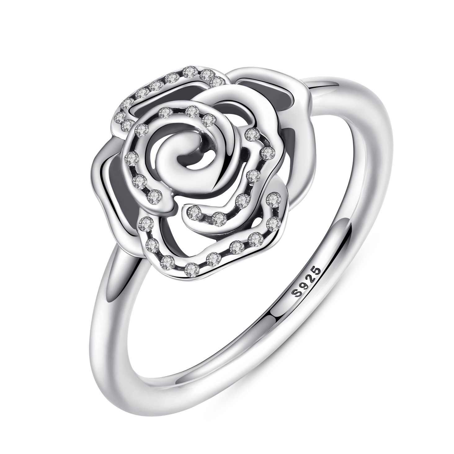 Delicate Rose Flower Ring with Clear CZ Ring Original 100% 925 Sterling Silver Jewelry Engagement Ring 6-8 (6)