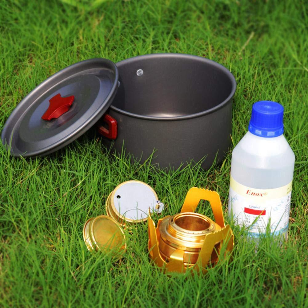 Biback Camping en Plein Air Alcohol Estufa Quemador Horno aleaci/ón Aluminio lat/ón Alta eficiencia de combusti/ón port/átil Alcohol Cacerola