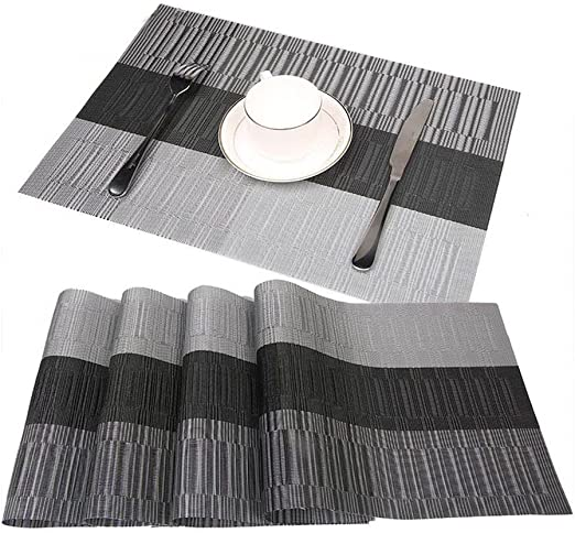 Amazon Com Jian Ya Na Placemats Dining Room Table Mats Crossweave Woven Vinyl Heat Resistant Non Skip Durable Textilene Pvc Placemats Home Kitchen