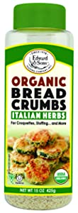 Edward & Sons Organic Breadcrumbs, Italian Herbs, 15 Ounce Containers (Pack of 6)