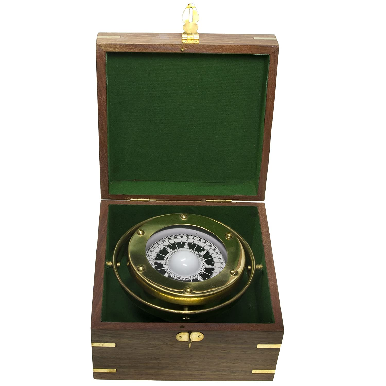 Messing Kompass kardanische Aufhängung in der Holzbox Navigation Maritim