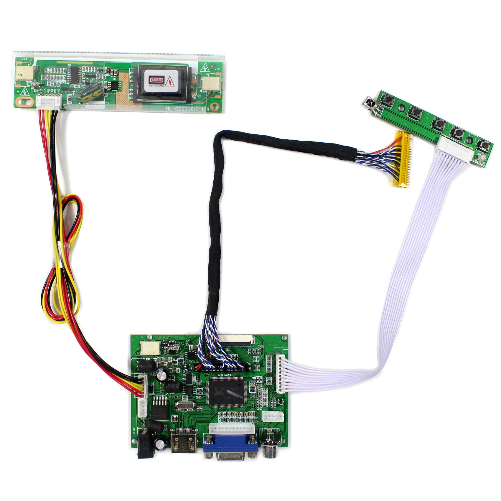 HDMI+VGA+2AV Input LCD Controller Board For B170PW04 LM171W02-TLB2 17'' 1440x900 2CCFL 30Pins LCD Panel by LCDBOARD (Image #1)