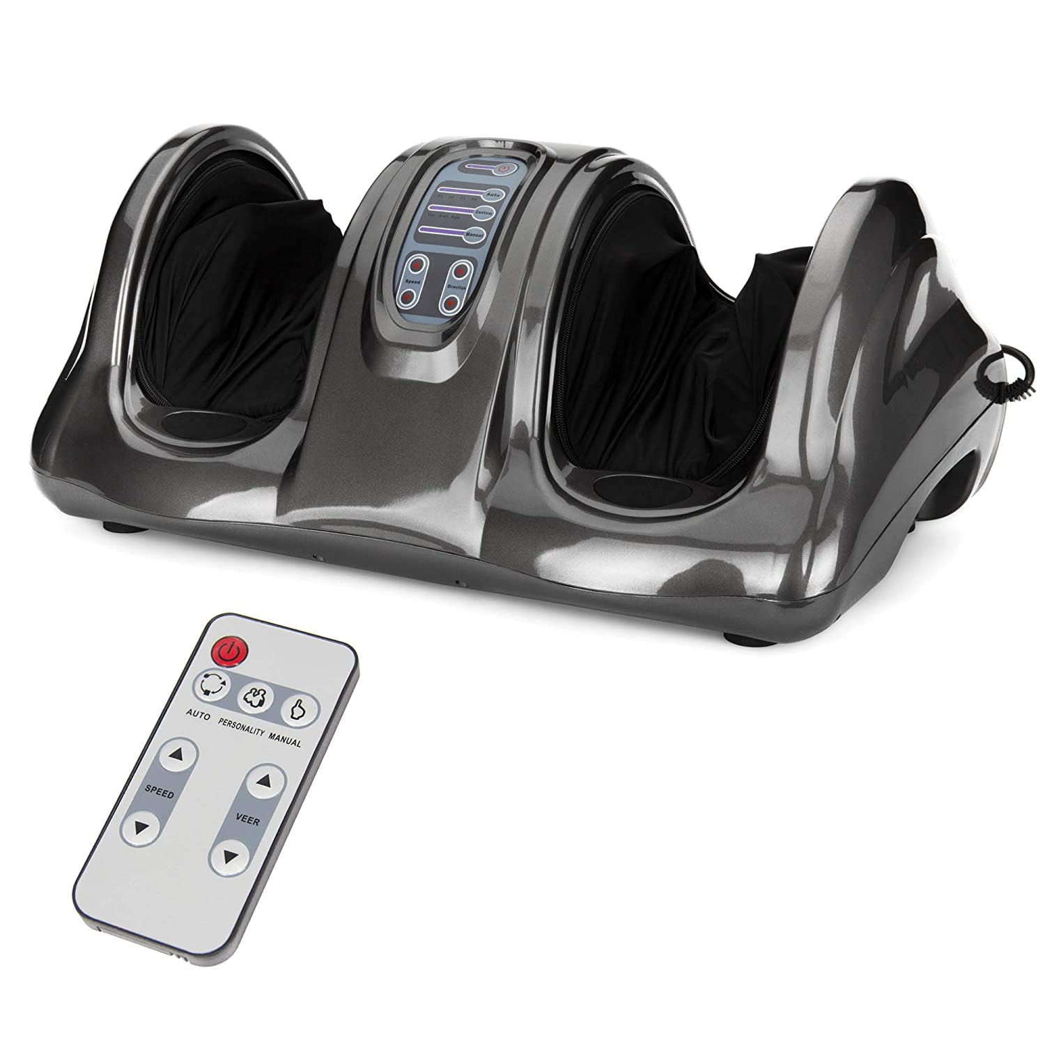 Best Choice Products Therapeutic Kneading & Rolling Shiatsu Foot Massager w/High Intensity Rollers, Remote - Gray