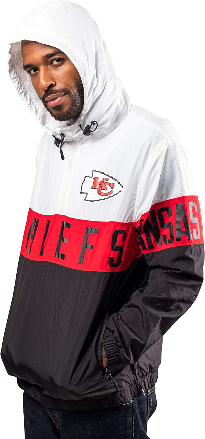 Ultra Game NFL Mens Quarter Zip Hoodie Windbreaker Jacket