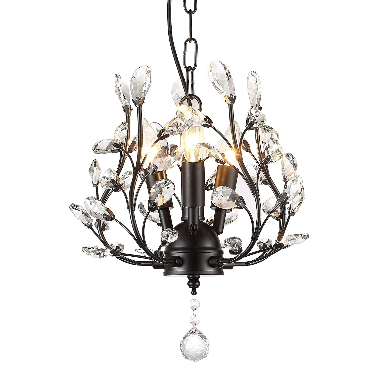 Seol light farmhouse crystal branch chandelier pendant hanging lighting fixture small size flush mount 120w with 3 socket black for bedroomfoyerkitchen
