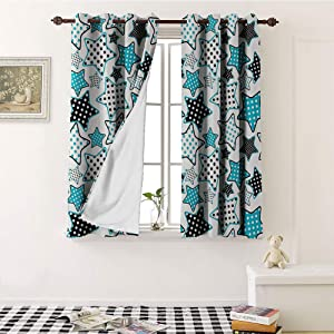 Teresa Sophy House Decor Collection Window Darkening Curtains, Stars Shapes Cartoon Childish Illustration and Geometry Cheering Celebration Image, High Shading Rate (W84 x L72 Inch ,Blue Black White)