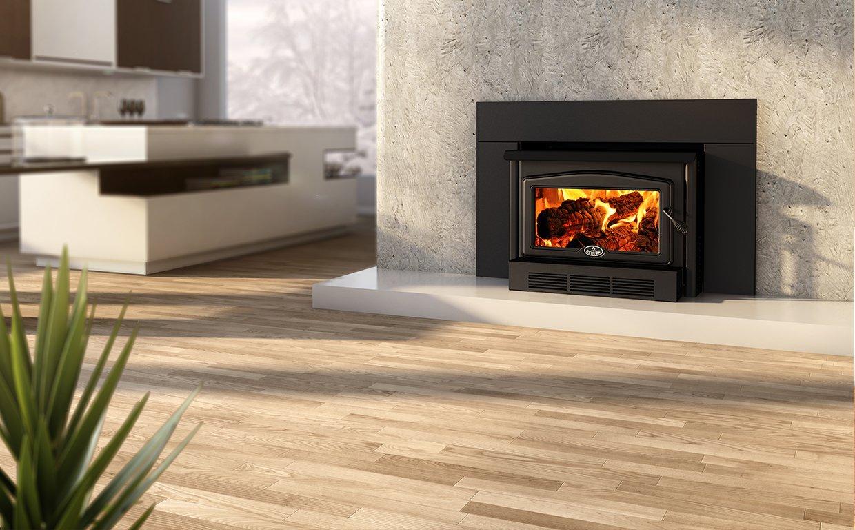 Osburn 2400 Wood Insert with Black Cast Iron Door Overlay, Regular Faceplate and Black Trim Kit (29 X 44) by Osburn