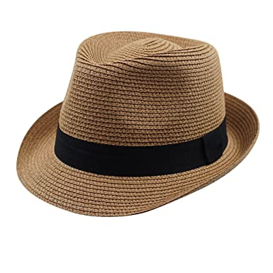home prefer kids little boys fedora hat straw summer sun hats for travel  party costume coffee  Amazon.in  Clothing   Accessories a4d0656518a
