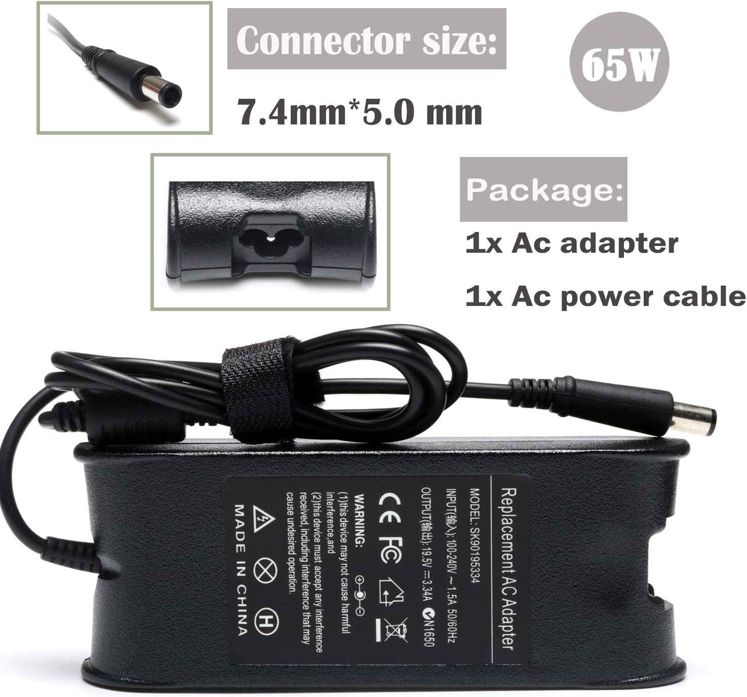 65W 19.5V 3.34A Laptop Ac Adapter Charger for Dell Latitude3330 3440 3340 3540 3450;E6420 E6430 E6520 E6530 E6540 E7240 E7250 E7440; Inspiron 15 3521 3520 3537 5521 15R 7520 Power Supply Cord Plug