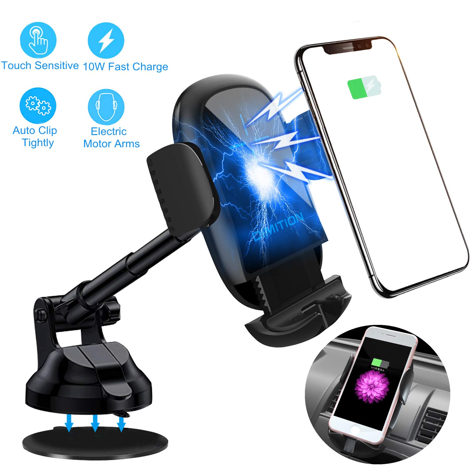 Dimi Cell Phone Holder for Car Phone Mount Qi Fast Charging Wireless Car Charger Mount Dashboard/Air Vent Phone Holder Compatible with iPhone Xs Max/XR/X/8 Plus Samsung Galaxy S10e/S10+/S9/S9+/Note 9