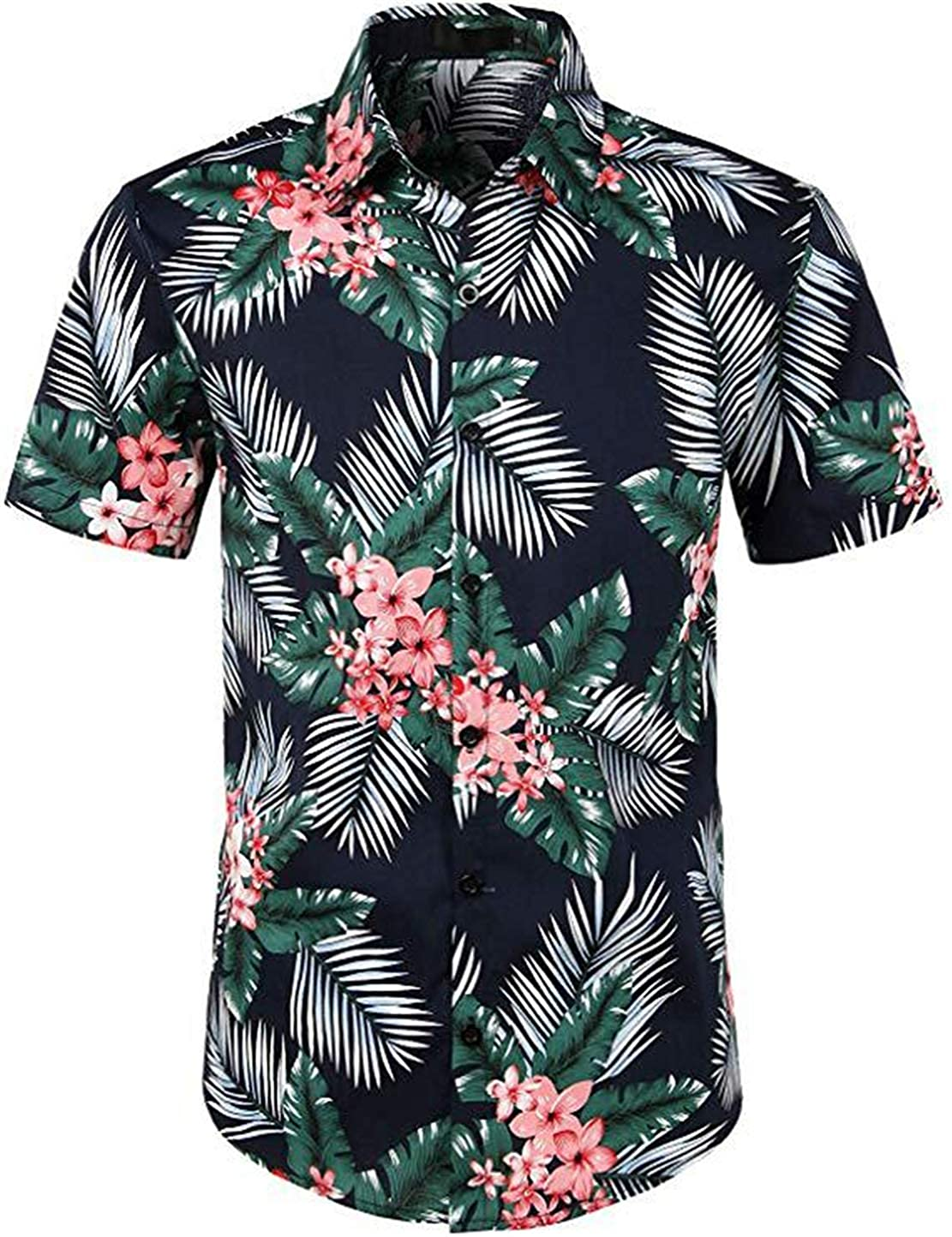 ZLL8 Slim-Fit Printed Cotton Tropical Hawaiian Casual Shirt Men