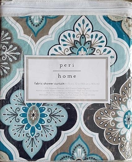 Peri Fabric Shower Curtain Aqua Teal Gray White TIles Lilian Tile