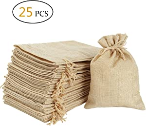 Burlap Bags 5 x 7 Inch with Drawstring - Natural Linen Gift Bags Jewelry Sacks Strong Small Jute Bag for Festivals, DIY Craft, Present, Party Favor, Snacks,Jewelry and Anniversaries