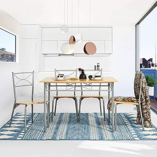 Yata Home Mesa de salón Comedor Conjunto de Mesa y 4 sillas de ...