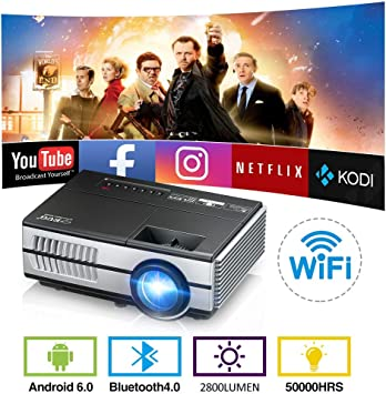 Wireless WiFi Bluetooth Pico Mini Projector 2800 Lumen Portable LED LCD Projector Android 6.0 Video Proyector Airplay Miracast Support HD 1080P with ...