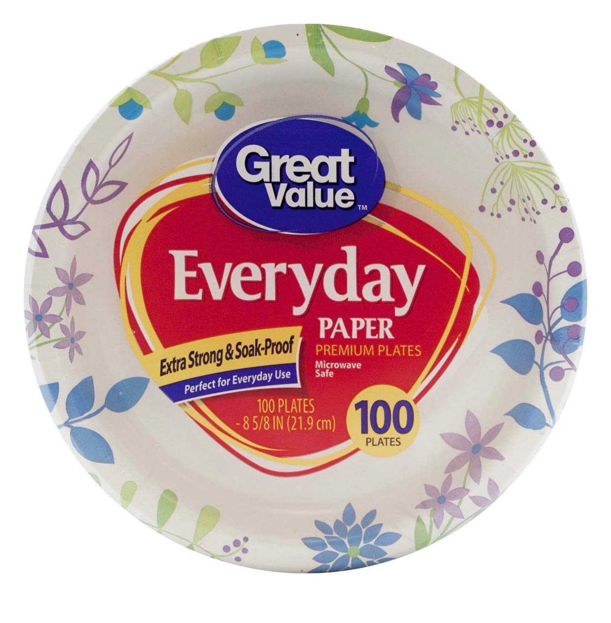 Great Value 8 5/8'' Heavy Duty Premium Party Paper Plates, 100 ct (200 ct)