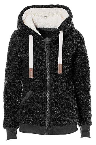 VILIER Ladies Womens Soft Teddy Fleece Hooded Jumper Hoody Jacket Coat Cream Taupe Black
