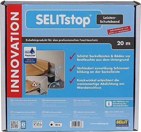 Leisten-Schutzband f/ür optimalen Feuchtigkeitsschutz im Wandanschluss SELITstop 20 m