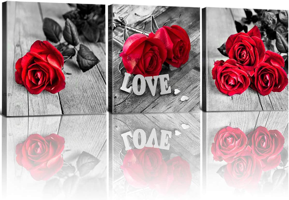 Red Wall Decor Pictures for Bedroom Rose Canvas Art Black&White Bathroom Flower Poster Kitchen Accessories Artwork 12x12 Inch 3Pcs Photo Prints Women Girls's Gift Living Room Corridor Wall Decorations
