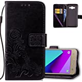 J2 Prime Wallet Case Leather COTDINFORCA Premium PU Embossed Design Magnetic Closure Protective Cover with Card Slots for Samsung Galaxy J2 Prime SM-G532 (5.0 inch). Luck Clover Black