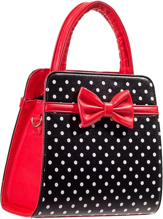 1950s Handbags, Purses, and Evening Bag Styles Dancing Days Carla Retro Bag 50s Rockabilly Polka Faux Leather Top Handle Handbag $29.07 AT vintagedancer.com