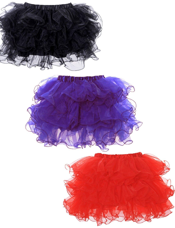 Yummy Bee - Gerüschter Tutu Rock Karneval Fasching Burleske Tülle Schwarz  Kurz Damen Größe 34 - 52 (Rot, 36-38)  Amazon.de  Spielzeug b616a24936