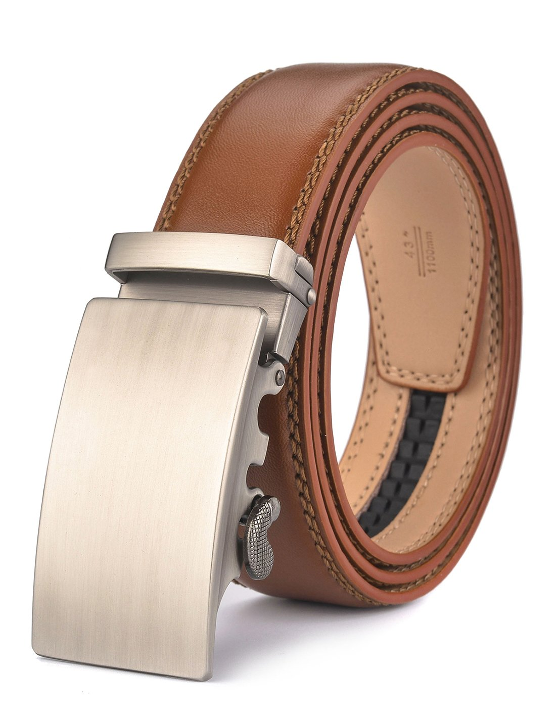 plyesxale Men's Leather Ratchet Dress Belt- Length is Adjustable - Delicate Gift Box (Waist Size:26-36'', Tan strap&Silver Buckle 02)