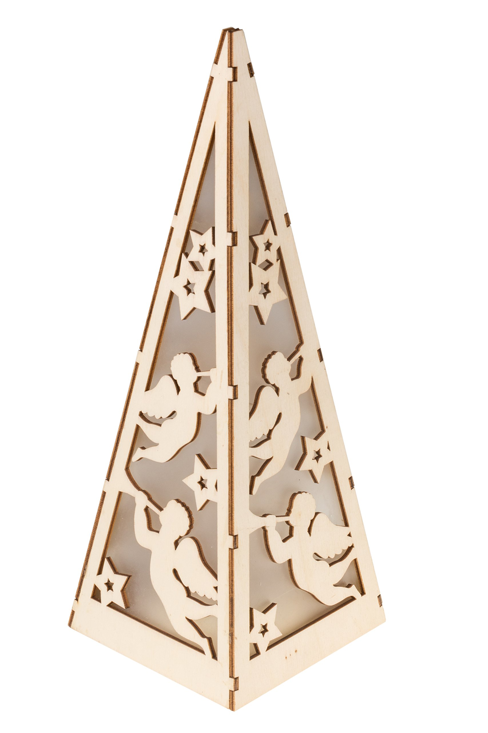 Christmas Flameless LED Angel Candle Table Top Lantern by Clever Creations   Durable Painted Wood   Beautiful Angel Design   Measures 4.25'' x 4.25'' x12''   Battery Powered