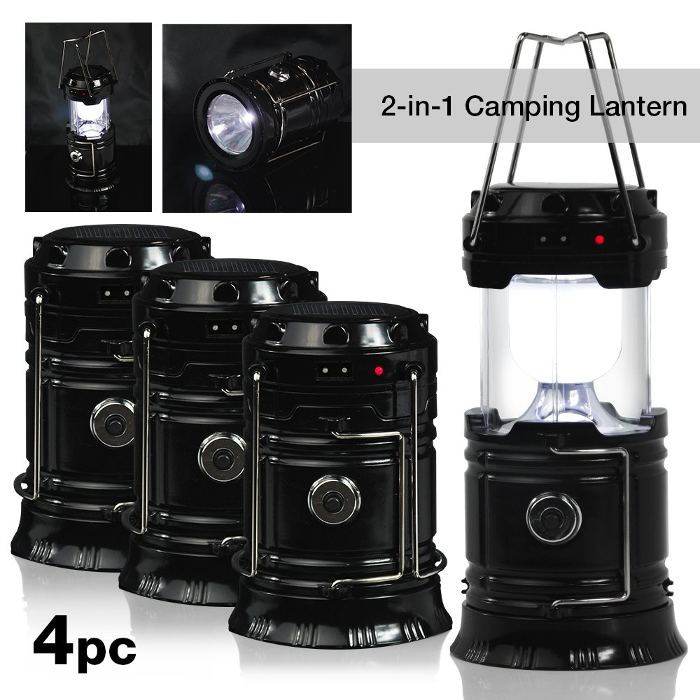 Partysaving 4 Pack Camping Hiking 2 In 1 Solar