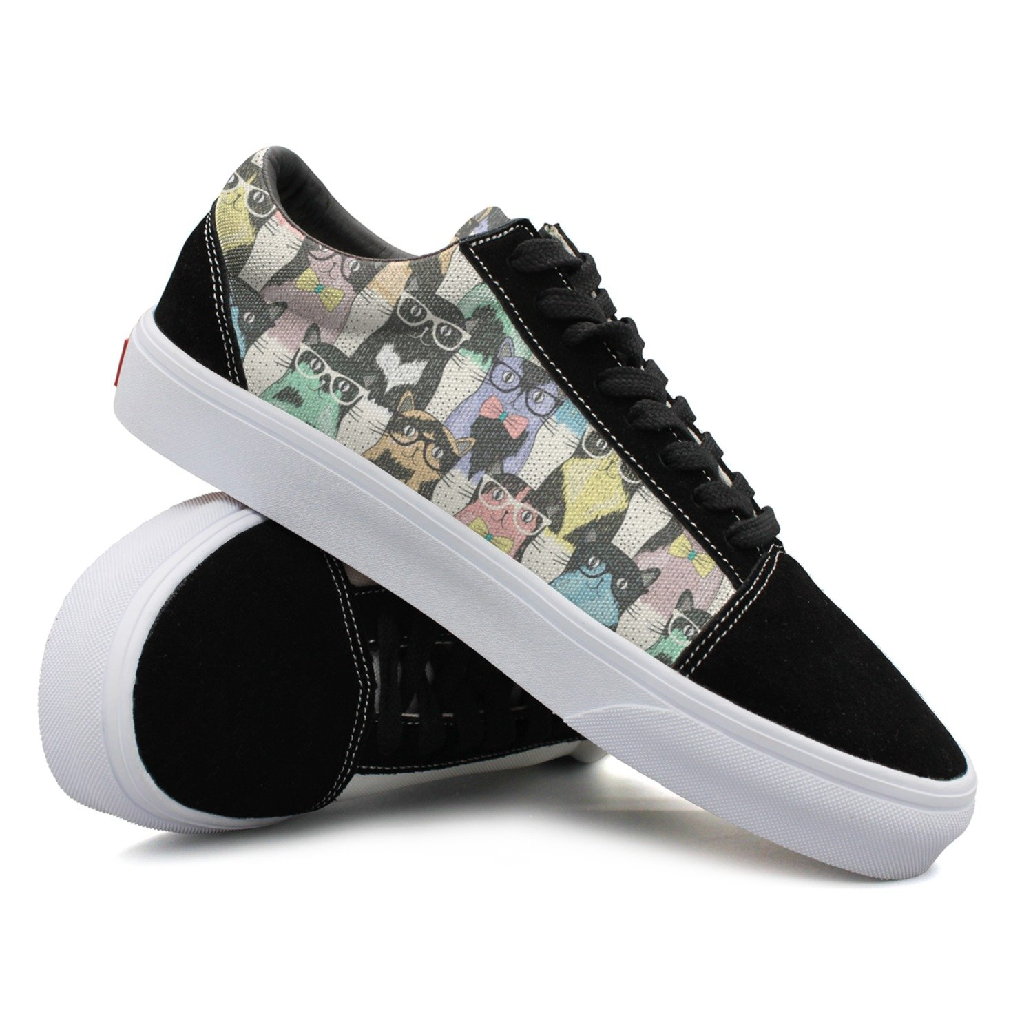 Hispter Cats With Glasses Men's Low-top Canvas Walking Shoes New Volleyball Sneakers