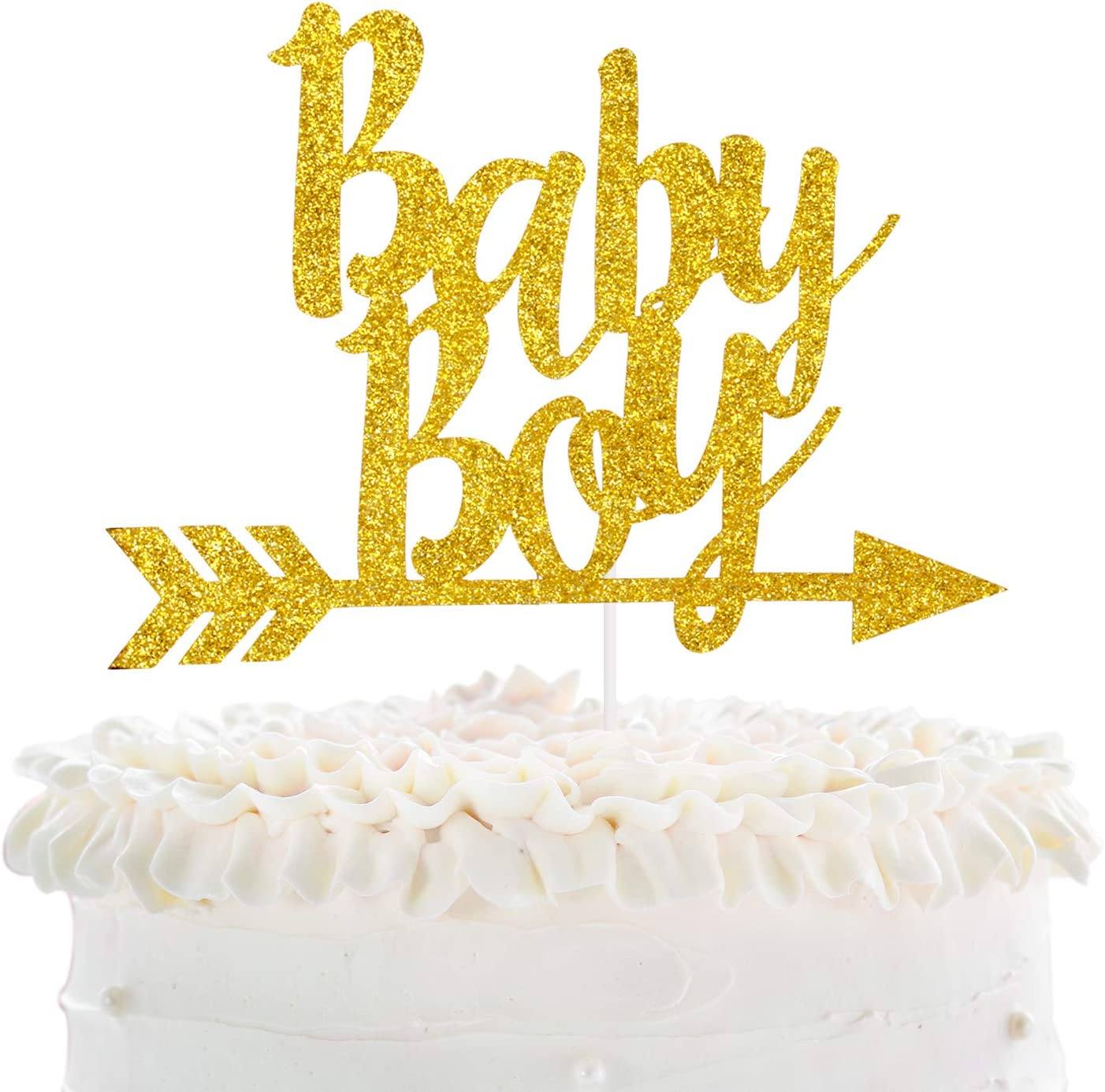 Baby Boy Boho Cake Topper - Baby Shower Party - Newborn Baby First Birthday Glod Glitter Cake Décor - Gender Reveal It's A Boy Tribal Boho Arrow Party Decoration