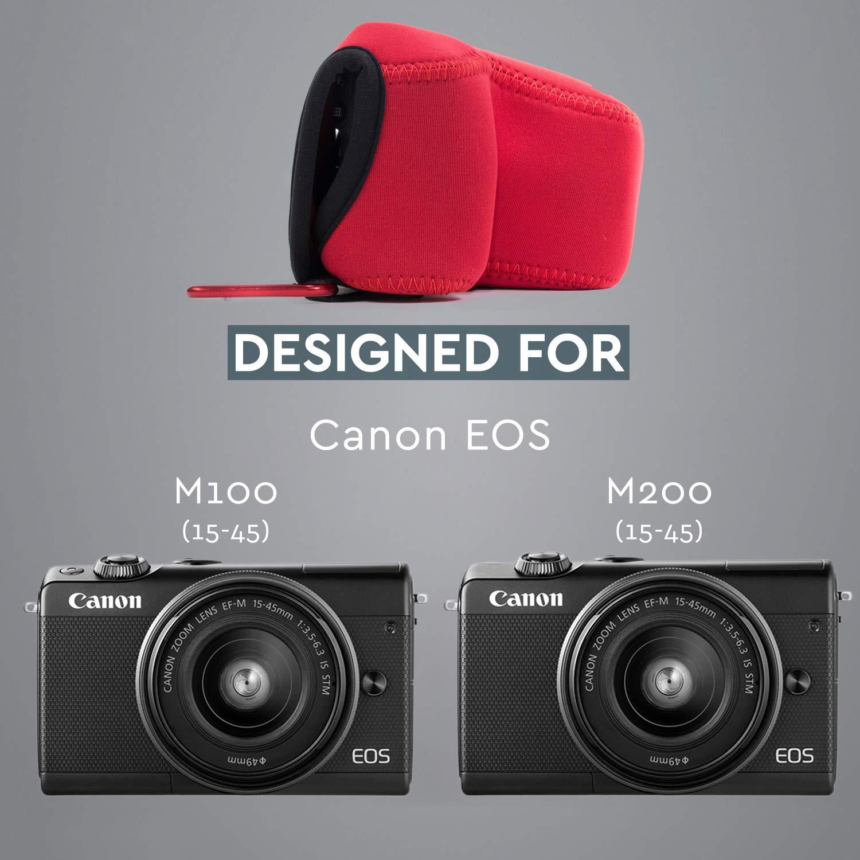 Blue with Carabiner MG1321 Ultra Light Neoprene Camera Case 15-45mm Megagear Canon EOS M100 M200