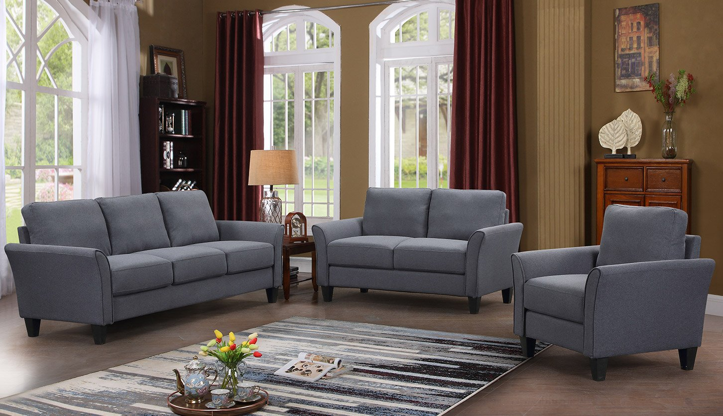 Harper&Bright Designs Monroe 3-Piece Sofa Set,Living Room Sofa Set Living  Room Furniture Sofa and Loveseat Chair with Sofa Chair, Grey (3-Seat Sofa &  ...