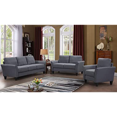 Harper&Bright Designs Monroe 3-Piece Sofa Set,Living Room Sofa Set Living Room Furniture Sofa and Loveseat Chair with Sofa Chair, Grey (3-Seat Sofa & Loveseat & Sofa Chair)