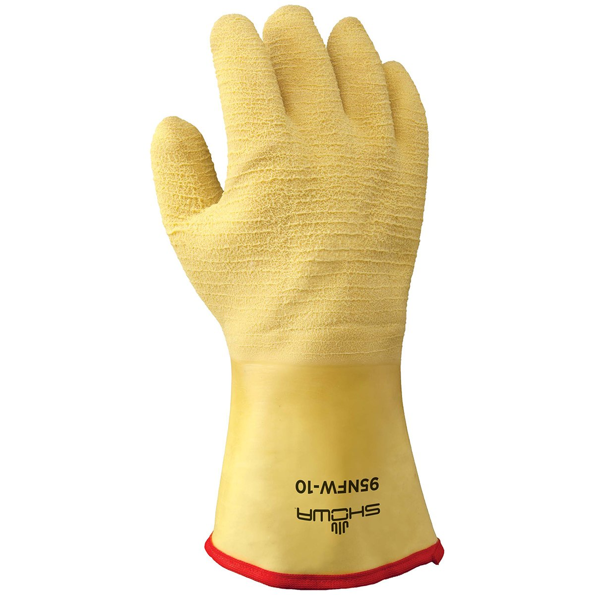 SHOWA 95NFW Insulated Fully Coated Cotton Jersey Natural Rubber Glove, Triple Layered Foam Insulation, General Purpose Work, 12'' Gauntlet, Large (Pack of 12 Pairs)