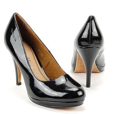 TAMARIS Damen High Heels Pumps, Plateau, Decksohle Leder, Lack schwarz,  Größe: