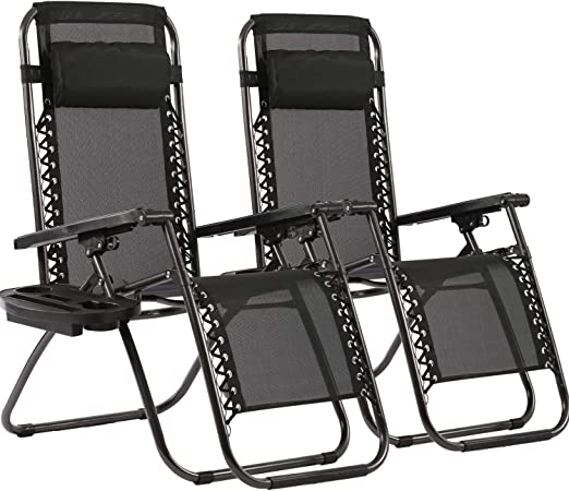 Black Brybelly Holdings Inc HLCH-003 Zero Gravity Outdoor Folding Lounge Chair with Pillow